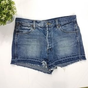 Free People High Waist Button Fly Denim Shorts